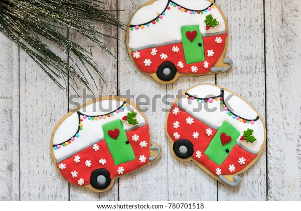 Cute Christmas Camper Decorated Sugar Cookies Stock Photo Edit Now