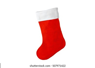 Cute Christmas stocking isolated on white