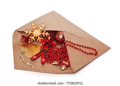 Cute Christmas tree decorations in the large outdoor envelope paper craft.