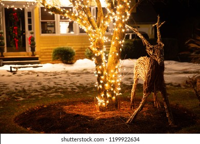cute Christmas wooden deer in the garden at night. Christmas display outside