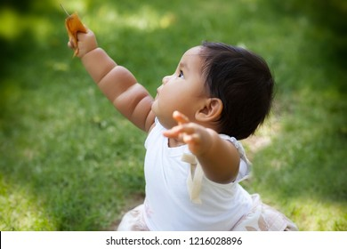 Cute chubby toddler raising her arms to the sky in a park with green grass