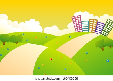 Cute City And Green Hills With Sunset