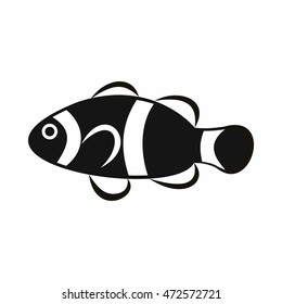 Cute clown fish icon in simple style isolated  illustration