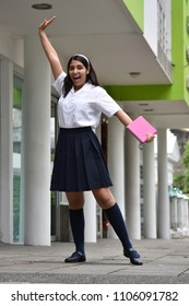 Cute Colombian Girl Student And Happiness