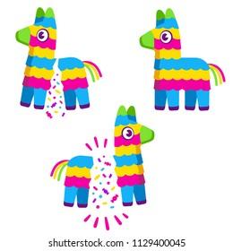 Cute colorful cartoon Pinata. Broken with confetti and candy. Birthday celebration illustration set.