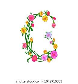 Cute Colorful Floral Alphabet - Letter G Design Isolated on White Background for Postcard, Stationeries, Logo, Web and Decoration. Elegant Floral Monogram Letter G Logo Illustration