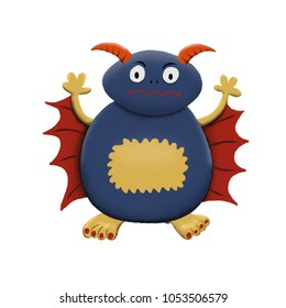 Cute and colorful monster cartoon character.  Dark blue and red wings. Original Digital illustration.