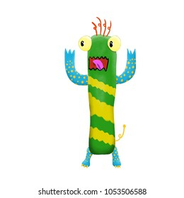 Cute and colorful monster cartoon character.  Green with yellow stripes. Original Digital illustration.
