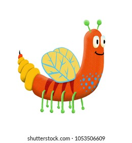 Cute and colorful monster cartoon character. Orange body with yellow wings. Original Digital illustration.
