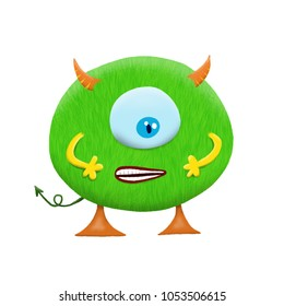 Cute and colorful monster cartoon character. Green body with a big eye. Original Digital illustration.