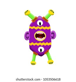 Cute and colorful monster cartoon character. Purple, green and yellow.  Original Digital illustration.