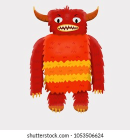 Cute and colorful monster cartoon character.  Big, red & hairy with horns. Original Digital illustration.