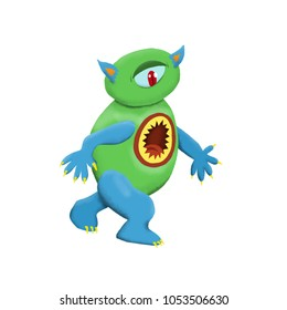 Cute and colorful monster cartoon character.  Blue and green with one eye. Original Digital illustration.