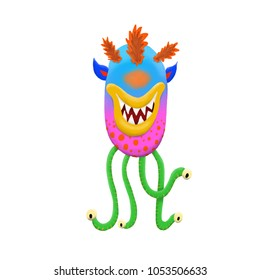 Cute and colorful monster cartoon character.  Light blue and pink. Original Digital illustration.