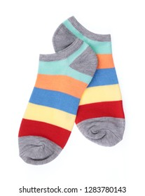 cute of colorful socks isolated on white background