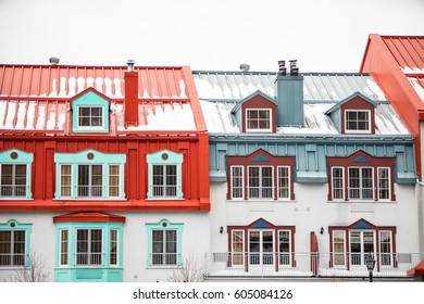 Cute colourful chalets in a snowboarding town