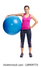 cute confident woman with gym ball for pilates and yoga