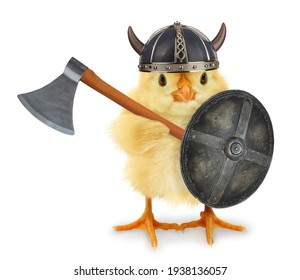 Cute cool chick Viking medieval warrior with shield and axe funny conceptual image