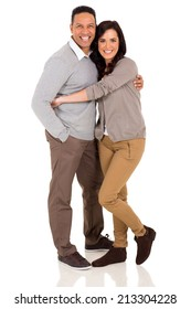 cute couple embracing on white background
