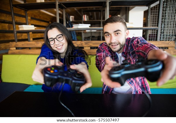 Cute Couple Playing Video Games Stock Photo Edit Now 575507497