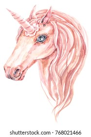 Cute curly watercolor unicorn with long lashes. Illustration on a white background.