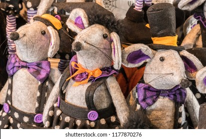 Cute, Decorative Stuffed Toy Halloween Mice Dressed in Purple and Black