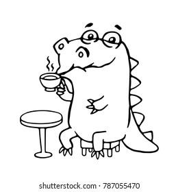 Cute dinosaur in cafe illustration. Funny cartoon character.