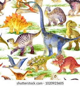cute dinosaurs watercolor seamless pattern