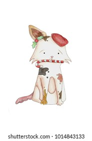 Cute Dog. Dog T-shirt graphics. watercolor illustration. New year 2018