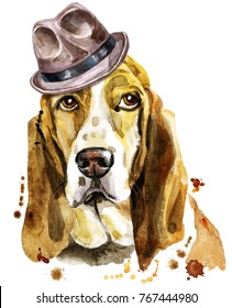 Cute Dog. Dog T-shirt graphics. watercolor basset hound