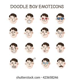 cute doodle boy heads collection. Boy emoticons set. Emoji icons
