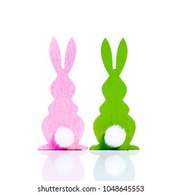 cute easter decoration bunnies isolated on white
