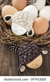cute easter eggs with a lamb hat