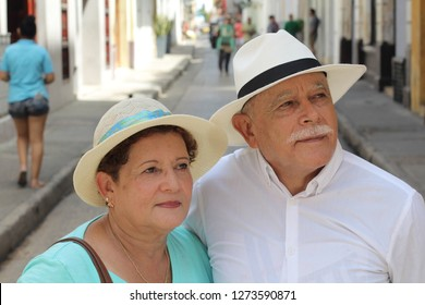 Cute elderly Hispanic couple outdoors
