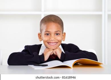 cute elementary schoolboy