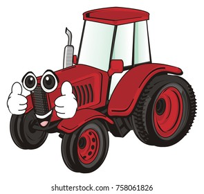 cute face of red tractor show gesture class