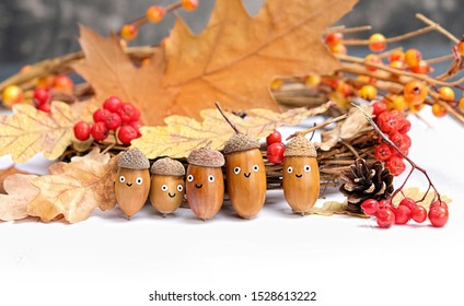 cute Family of acorns in hats. children's creativity from forest harvest. acorns, berries and oak leaves. funny acorns emotion face. creative DIY idea. close up