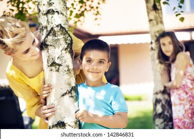 Cute family having fun