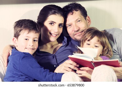cute family in love smiling