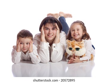 Cute family lying on the ground
