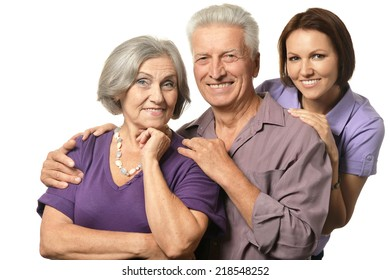 Cute family portrait , adult daughter with senior parents