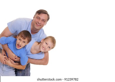 cute family of a three in blue clothes