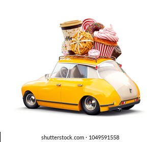 Cute fantastic retro car with sweets and coffee on top. Pastries concept 3d illustration. Isolated on white