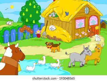 Cute farm with animals. Cartoon illustration.
