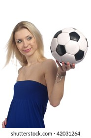 Cute fashion girl with a soccer ball isolated on the white background.