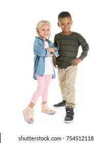 Cute fashionable children on white background