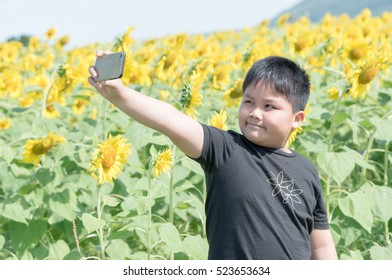 Cute fat boy taking a selfie with smart phone on sunflowers background