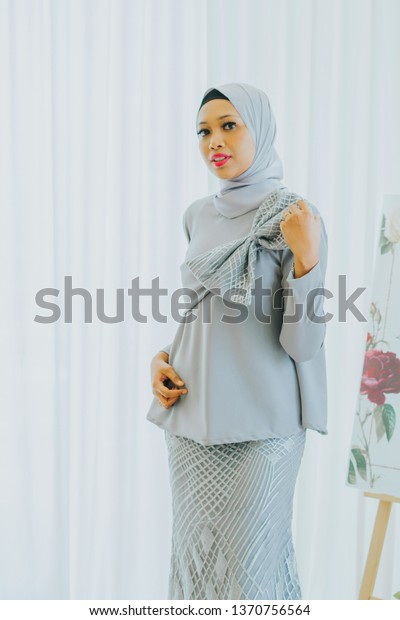 Cute Female Model Wearing Baju Kebaya Stock Photo Edit Now 1370756564