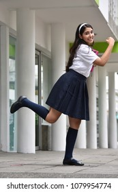 Cute Female Student Running Wearing Skirt