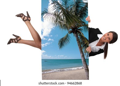 cute female travel agent flying under poster of beautiful island